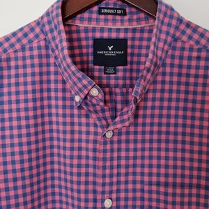 AE Long-Sleeved Seriously Soft Gingham Shirt